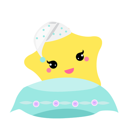 Cute baby star with pillow in hight hat. vector illustration for nursery design. Good night, sweet dreams concept. Ilustração