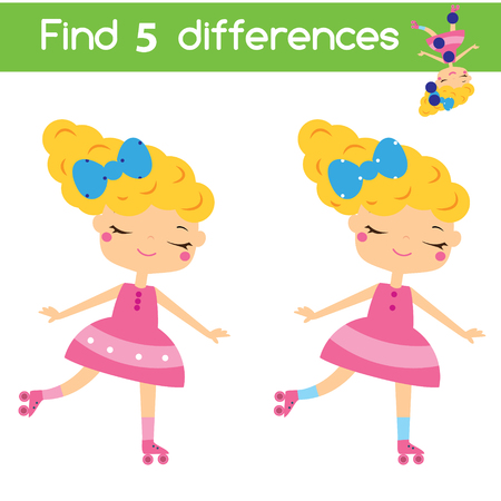 Find the differences educational children game with answer. Kids activity sheet with roller skating girl. Illustration