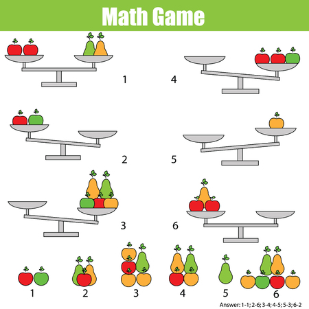 Mathematics educational game for children. Balance the scale. Learning counting, mathematical equation, weights and algebra 일러스트