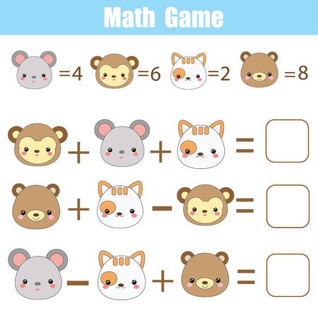Math educational game for children. Counting equations. Mathematics worksheet with cute animals faces
