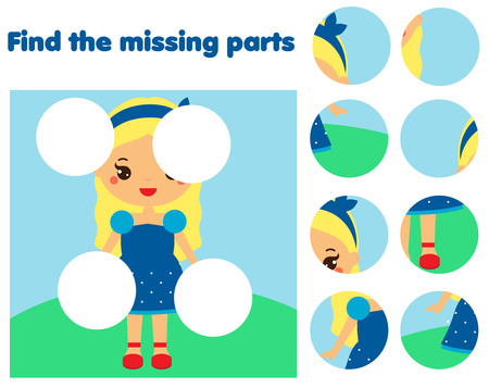 Puzzle game, Find missing part of picture. Educational activity for pre school years kids, toddlers and children