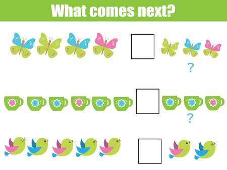 What comes next educational children game. Kids activity sheet, training logic, continue the row task  イラスト・ベクター素材