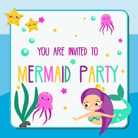 Summer mermaid party flyer. Children holiday party invitation design template in cartoon style
