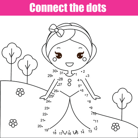 Connect the dots children educational drawing game. Dot to dot by numbers game for kids. Printable worksheet activity for toddlers with princess