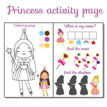 Princess theme activity page for kids. Educational children game set. Fun for toddlers and pre school age Illustration