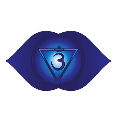 Ajna. Sixth, heart chakra symbol. Isolated vector icon