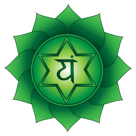 Anahata. Fourth, heart chakra symbol. Isolated vector icon