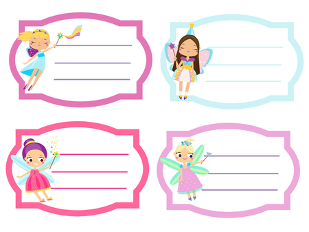 School labels with beautiful flying fairy. Name tags, Stickers for girls, pupil notebooks, workbooks