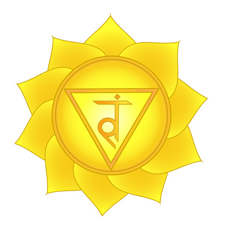 manipura. Solar plexus, third chakra symbol. Isolated vector icon Illustration