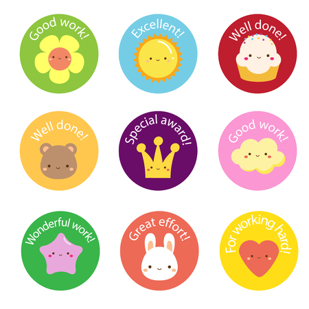 School labels for teachers. Award stickers for pupils, kids with cute symbols and motivational slogans