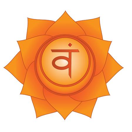 Svadhisthana. Sexual, second, sacral chakra symbol. Isolated vector icon Illustration