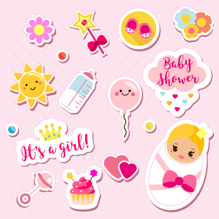 Its a girl stickers set in pink colors. Kids, children design elements for scrapbook.