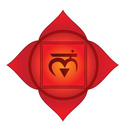 Muladhara. First, root, basic chakra symbol. Isolated vector icon