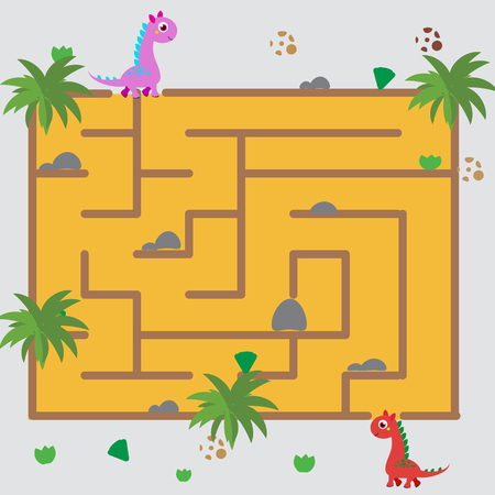 Maze children game: help the dino go through the labyrinth. Kids activity sheet Vettoriali