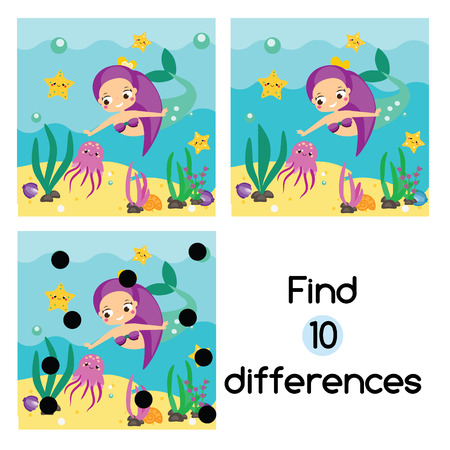 Find the differences educational children game with answer. Kids activity sheet with cute mermaid underwater
