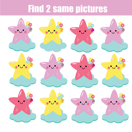 Find the same pictures. Children educational game. Find equal pairs of fairy stars