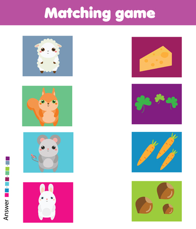 Matching game. Match animal with food. Educational children activity for pre shool years kids and toddlers