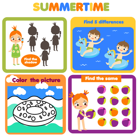 Activity page for kids. Educational children game. Summer holidays theme