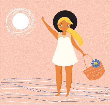 Girl in summer white dress with beach bag. Minimal summer illustration Ilustrace