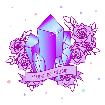 Magic Crystals with flowers and motivational slogan on ribbon. Girls tattoo, sticker. Vector illustration in pastel gothic colors