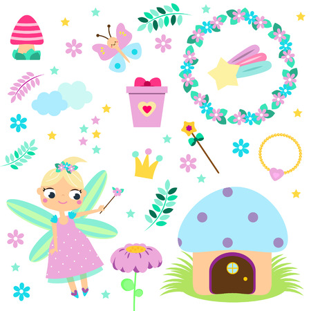Forest Fairy set. Collection of cartoon fairy tale design elements. Stickers, clip art for girls for scrapbook, party, mobile applications, blogs Illustration