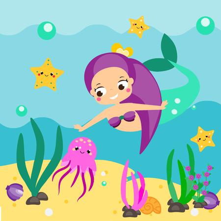 Cute cartoon mermaid exploring underwater sea world