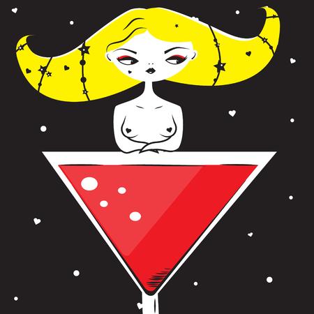 Fantasy Woman sitting in martini cocktail glass. Artistic illustration