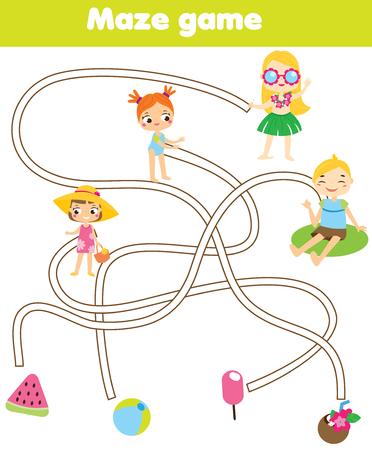 Jeu de labyrinthe pour les enfants. Thème des vacances d'été. Aidez les enfants à retrouver des objets perdus. labyrinthe pour les tout-petits