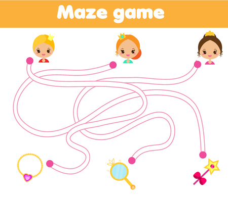 Maze game for children. Help princess find way to objects. Labyrinth for girls