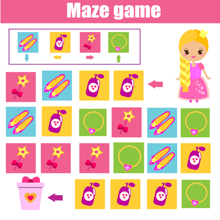Maze children game: help princess find way. Kids activity sheet. Logic game with code and cipher navigation