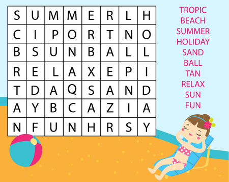 Educational game for children. Word search puzzle kids activity. Summer holidays theme learning vocabulary.