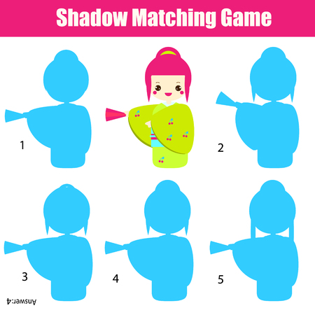 Shadow matching game for children. Find the right shadow. Activity for preschool kids with cute japanese girl in kimono