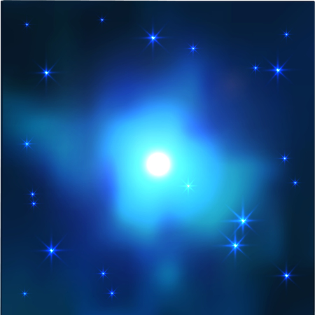 realistic space galaxy vector background in blue colors. Shining star in nebula