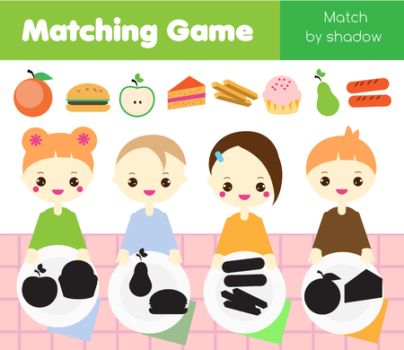Shadow matching game for children. Find the right shadow. Kids activity with food. Put meal into plates
