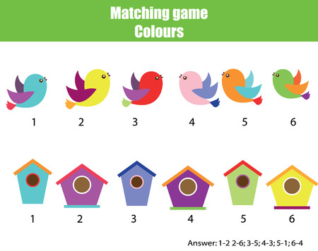 Educational children game. Matching game worksheet for kids. Match by color. Find pairs of birds and birdhouse. Learning colors, animals theme