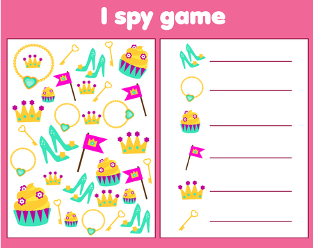I spy game for toddlers. Find and count objects. Counting educational activity for children and kids. Princess and fairy tale theme.