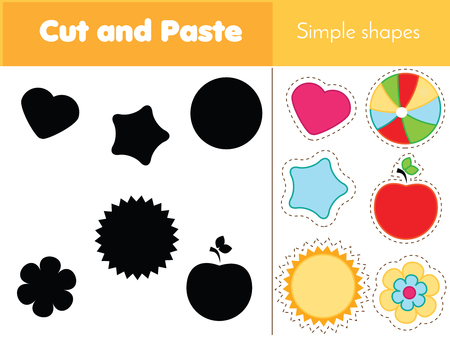 Shadow matching game for toddlers. Learning simple shapes. Educational game for children pre school age