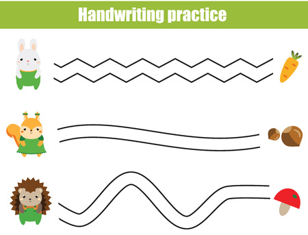 Handwriting practice sheet. Educational children game, printable worksheet for kids. Help animals find food. Illustration