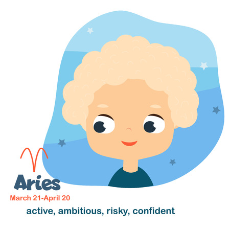 Aries. Kids zodiac. Children horoscope sign. Astrological symbols with cute baby face in cartoon style.