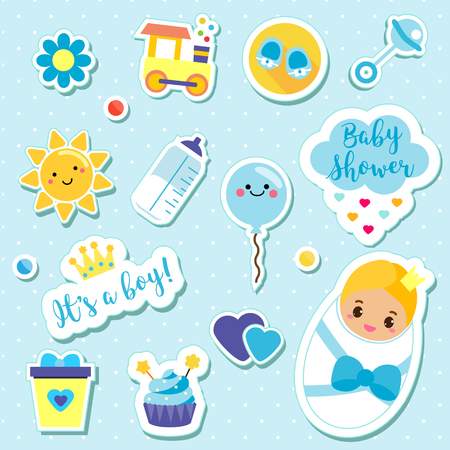 Its a boy stickers set in blue colors. Kids, children design elements for scrapbook. Decorative vector icons with newborn symbols for baby shower and other nursery design Illustration
