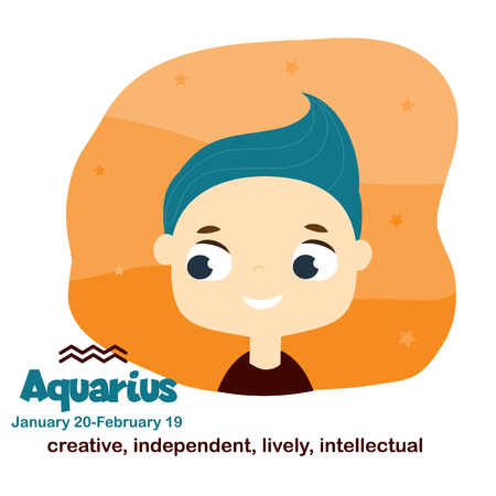 Aquarius. Kids zodiac. Children horoscope sign. Astrological symbols with cute baby face in cartoon style. Illustration