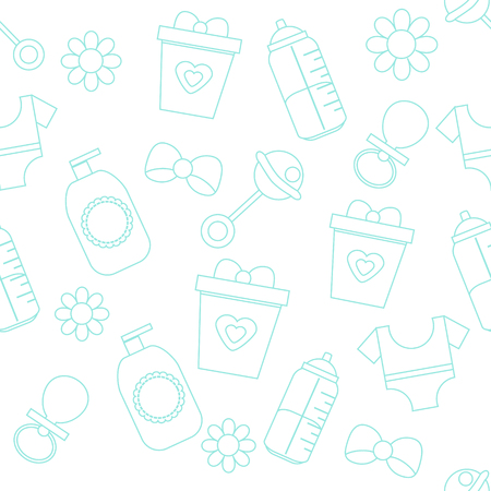 background with baby care symbols. Pattern with children and kids accessory and objects
