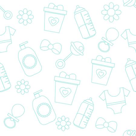 Hintergrund mit Babypflege-Symbolen. Muster mit Kindern und Kinderzubehör und Gegenständen