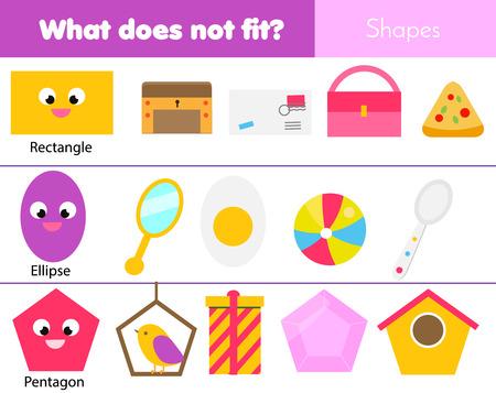 Juego educativo para niños. Juego de lógica. Lo que no encaja con el tipo. aprender formas geométricas para niños y niños pequeños. Ilustración de vector