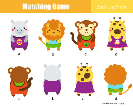 Matching game. Educational children activity with cute animals. Learning back and front