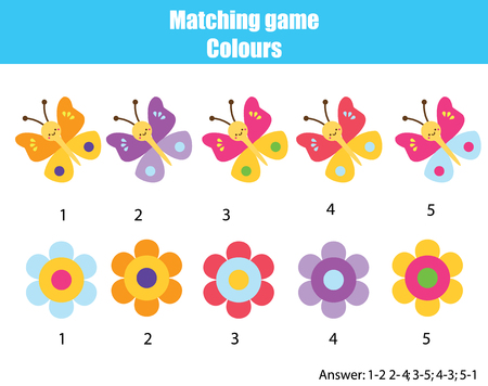 Educational children game. Matching game worksheet for kids. Match by color. Find pairs of butterflies and flowers