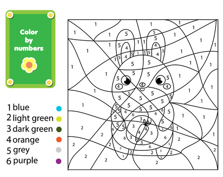 Children educational game. Coloring page with rabbit. Color by numbers, printable activity. Worksheet for toddlers and pre school age. Animals theme Illustration