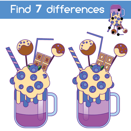 Find the differences educational children game with answer. Kids activity sheet with milkshake