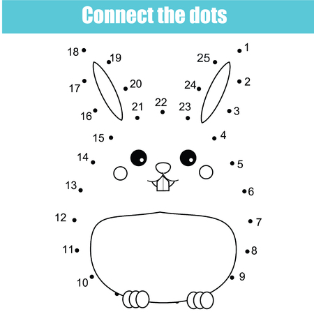 Connect the dots children educational drawing game. Dot to dot by numbers game for kids. Printable worksheet activity for toddlers with cute bunny rabbit