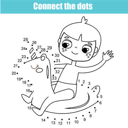Connect the dots children educational drawing game. Dot to dot by numbers game for kids. Summer holidays theme printable activity for toddlers  イラスト・ベクター素材